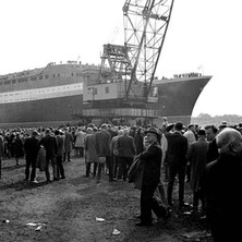 Some of the large crowd that came to watch the launch of the QE2 - John Brown Shipyard, Clydebank, 1967. Photo by William Duncan