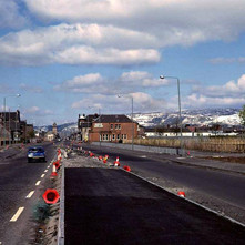 Standing on the first version of the central reservation on the Clydeside Expressway. Glasgow Road, Clydebank. 1981