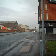 Looking down Glasgow Road, from Whitecrook Street.  27th January 2002