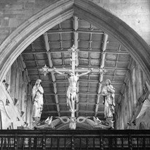 Wakefield Cathedral, formally the Cathedral Church of All Saints Wakefield is the Cathedral for the Church of England's Diocese of Wakefield. This is a detail inside the Church. - Yorkshire 12th july 1979