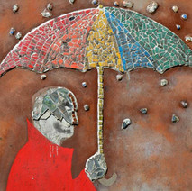 Part of the umbrella man mosaic going through the underpass under the Forth & Clyde canal at Dalmuir. - 3rd May 2012