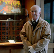 Brendan Kelly beside his model of Jellico Street that he lived in at the time of the Blitz, the only part of the street left standing after the bombing. The building survives to this day - 11th March 2016