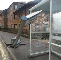 Wonky bus stop in Dalmuir. - 1st February 2011