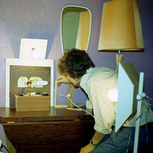 In my hall at Dunedin Terrace setting up a scene for an animated movie I was making. It never got finished, as the children came along and my life changed big time, for the better I might add. - 26th September 1977 Dunedin Terrace, Clydebank