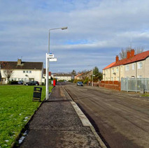 Brown Avenue, Whitecrook. The pavement has been raised at the bus stop to make easier access to the bus.  -  4th February 2015