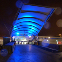 The Swan Bridge at the Clyde Shopping Centre lit up. - 29th January 2011