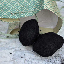 My daughter brought a couple of lumps of coal for our New Year. She also brought us food for our New Year Dinner as no one is allowed in the house because of Covid restrictions.  -  1st January 2021