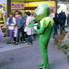 Kermit the Frog. Charity Workers dressed up raising money for Spina Bifida. - 3rd December 1982