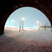 Standing in the tunnel on Argyle Road during a snowstorm. I have my waterproofs on, camera on a tripod, having fun. - Argyle Road, Clydebank. January 1981