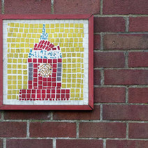 Mosaic of the Singer Clock on the Rangers Office.  -   Dalmuir Park.  -  22nd January 2021
