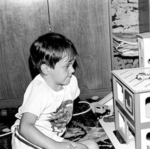 Craig, my sister's boy, came round for a visit and had a play with the garage I made for Jennifer's Christmas  - Low Crescent 1982