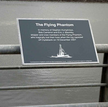 Plaque to the crew of the Flying Phantom who lost their lives when the tug capsized in the River Clyde on 19th December 2007. Saturday 1st May 2010