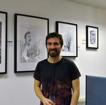 Open Art Exhibition Launch Night in Awestruck Art Gallery, Kilbowie Road. This is my friend Ally with his wonderful drawings - 3rd February 2017