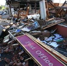 Shops on Hawthorn Street, Parkhall, after the explosion. At the height of the incident several families were evacuated as a precautionary measure. - October 2006. Photos taken and supplied by Philip MacKay.