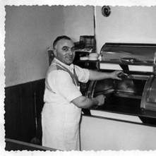 Mick Fallone in his chip shop. Mick was friends with the Tierney's and was at my sister Mary's wedding in 1953. - Photograph supplied by Mary Tierney. Date unknown.