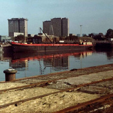 Ship moored at the Rothesay Dock. - Photo by Tommy Quinn. October 1978