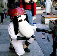 Snoopy. Charity Workers dressed up raising money for Spina Bifida. - 3rd December 1982