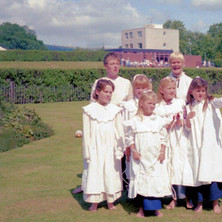 Children dressed up in period costumes as part of the Clydebank Centenary Celebrations in Dalmuir Park. Clydebank Centenary Celebrations 1986 - photo by Sam Gibson