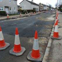 The traffic calming on Barnes Street is being redone. The road is temporarily closed off. - 22nd march 2011