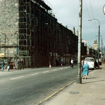 The scaffolding is starting to go up to knock down the tenements on Glasgow Road. - Photo by Tommy Quinn.