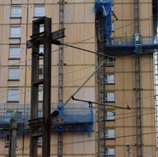 The High Flats at Dalmuir getting new cladding put on.  -  12th February 2013