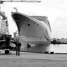 The QE2, tied up after launch. - John Brown Shipyard, Clydebank, 1967. Photo by William Duncan