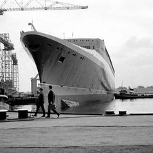 The QE2 was known as the Q4 before it was launched on the 20th September 1967. The Q3 was never built... - John Brown Shipyard, Clydebank, 1967. Photo by William Duncan