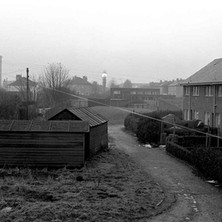 A view of the back lane from my kitchen window at Low crescent, Whitecrook, Clydebank. - January 1979