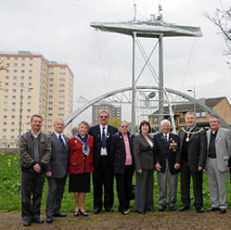Freddie, Denis Agnew, Tom McKendrick, Councillors, MPs and members of the Ramillies Association. - Sunday 25th April 2010 Dalmuir