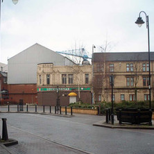 The Lucky Break Snooker Hall beside restored tenements, viewed from Alexander Street.  -  27th January 2002