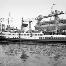 Ship bringing in visitors for the launch. - John Brown Shipyard, Clydebank, 1967. Photo by William Duncan