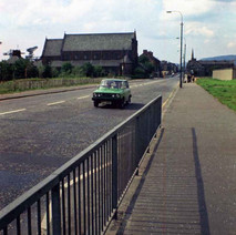 Glasgow road, Clydebank, looking down towards Our Holy Redeemer's Church. This is before Glasgow Road was turned into the Clyde Expressway. - 6th August 1977
