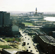 Looking down to the shipyard in Clydebank from the high flats in Dalmuir.  -  1994