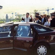 The Queen arriving at Radio Clyde at the Business Park. Clydebank Centenary Celebrations 1986 - photo by Wallace McIntyre