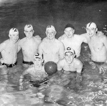 Clydebank Water Polo Team 1961  -  1. P. Dempster 2. G. Wallace 3. S. Lyon 4. J. Miller 5. R. Kerr 6. D. Thomson 7. C. Munro - 1961 Photo supplied by Doug Thomson, South Africa