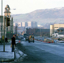 Looking up Glasgow Road on a cold, December day. The road is getting widened, and the new Chandler's pub is on the right of the photo. - 3rd December 1982