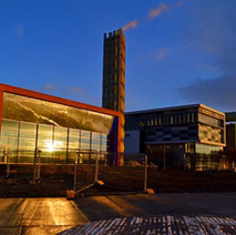 Dramatic shot of the new Power Plant beside West College Scotland, Clydeside, Clydebank.  -  3rd January 2021