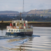 Clyde Cruiser sailing past the Titan Crane, Erskine Bridge in the background. - 27th January 2011