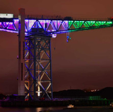Titan Crane lit to celebrate 100 years of the Women's Suffrage Movement. - 7th February 2018
