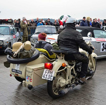 Motor bike and sidecar down at Clydebank College, Scottish start to the Monte Carlo Rally. - 29th January 2012