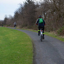 Cyclists on the old tow path of the Forth & Clyde Canal. It is very popular. - 2nd February 2013