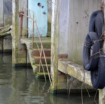 Part of the rotting dock of the old John Brown's shipyard. - 5th April 2012