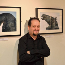 My friend, Will Wilson's Photography Exhibition in the Back Door Gallery, Dalmuir Library. Will with his Kelpie photographs. - 23rd February 2017