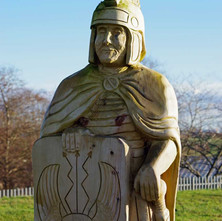 Wooden Roman soldier standing guard in the Goldenhill Park play area.  -  23rd January 2021