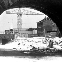 A closer look at the crane. Looking towards Glasgow Road. - 3rd February 1980