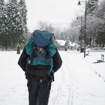 A brave walker trekking through Dalmuir Park in the snow.  -  13th February 2013