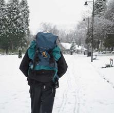 A brave walker trekking through Dalmuir Park in the snow.  -  13th February 2013