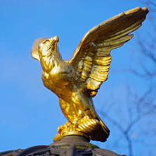 The Golden Eagle looking splendid in the winter sunshine on top of the Edwardian drinking well.  -   Dalmuir Park.  -  22nd January 2021