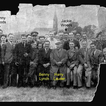 Patricia Ward (nee Woods) gave me this photo. Her two uncles, Danny Woods and Jackie Woods are marked in the photo. Sir Harry lauder and Benny Lynch are sitting in the front row. - Photo supplied by Patricia Ward (nee Woods)