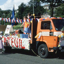 The Edinbarnet PA float in Parkhall. Clydebank Centenary Celebrations 1986 - photo by Sam Gibson